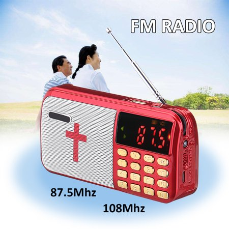 Multi-purpose Portable Bible Audio MP3 Player Speaker Dual TF Card Port FM Radio LED display Flashlight Christmas Gift for - Radio Decal