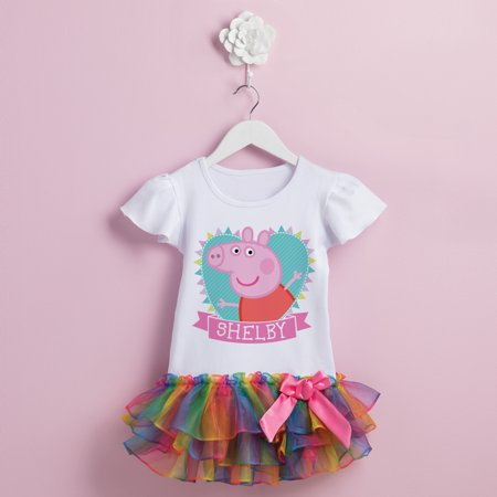 Peppa Pig Heart Rainbow Toddler Girl Personalized Tutu Tee