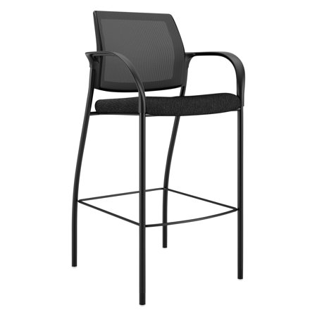 HON Ignition Series Mesh Back Cafe Height Stool, Black Fabric Upholstery