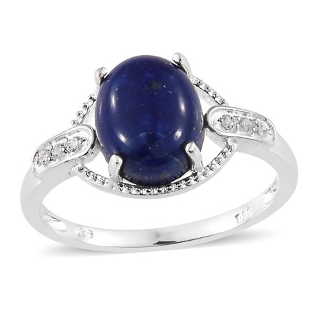 925 Sterling Silver Oval Lapis Lazuli Cubic Zirconia Ring Size 8 Cttw 4.7