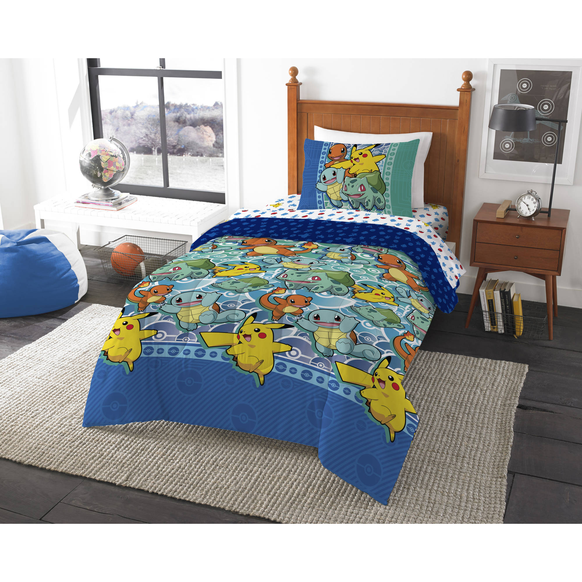 Pokemon First Starters 4 Piece Twin Bed in a Bag Bedding Set