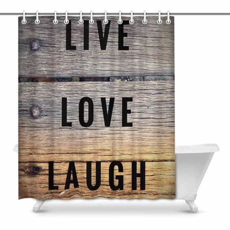 MKHERT Motivational And Inspirational Quotes Live Love Laugh House Decor Shower Curtain For Bathroom Decorative Fabric Bath Set 66x72 Inch