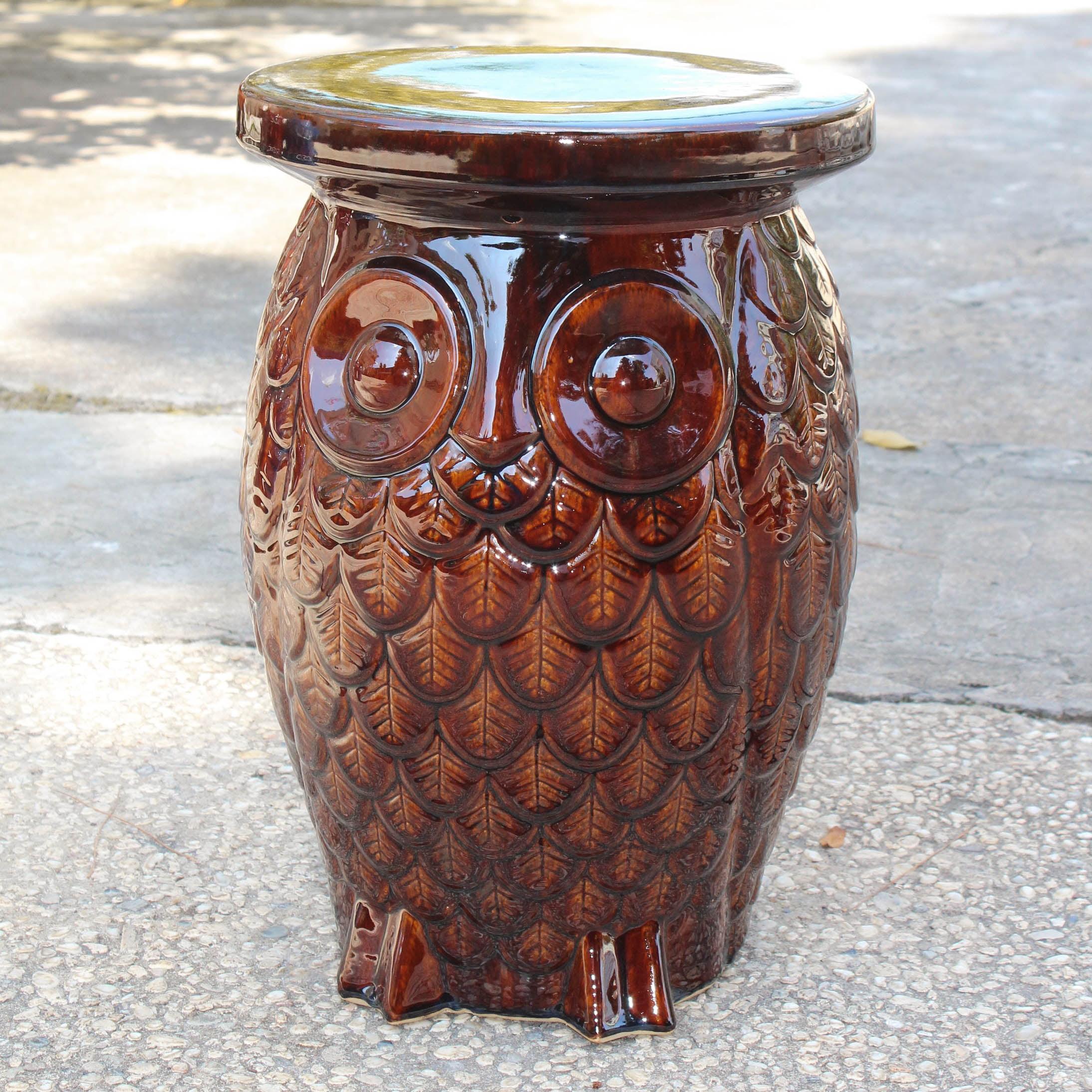 International Caravan Wise Old Owl Ceramic Garden Stool