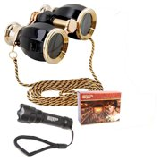 HQRP 4x30 Black pearl Opera Glasses Binocular Antique Style with Gold Trim & Necklace Chain + Compact Ultra Bright Flashlight