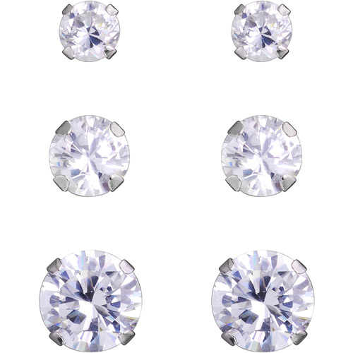 3/4/5mm Cubic Zirconia 10kt White Gold Stud Earrings, Set of 3