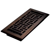 "Decor Grates 4"" x 10"" Oriental Design Steel Plated Rubbed Bronze Floor Register"