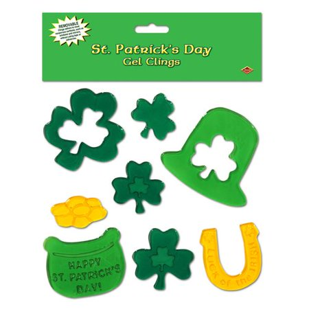 The Beistle Company 8 Piece St Patrick's Day Gel Cling Set (Set of 12)](St Patricks Day Party Supplies)