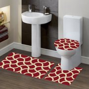 S BURGUNDY 3PC Bathroom Set Bath Mat, Contour, and Lid Cover, with Rubber Backing #6