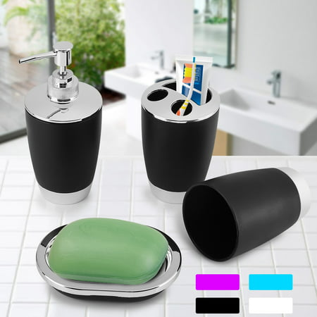 4Pcs/Set Bathroom Suit Accessories Includes Cup Toothbrush Holder Soap Dish Dispenser, Bathroom Suit Set, Bathroom Suit (Soap Dispenser Set)