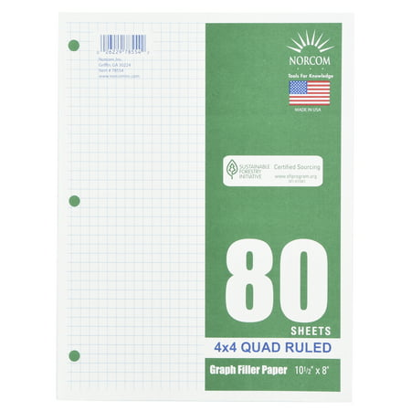 (4 Pack) Norcom 80 Sheets 4x4 Graph Filler Paper, 10.5