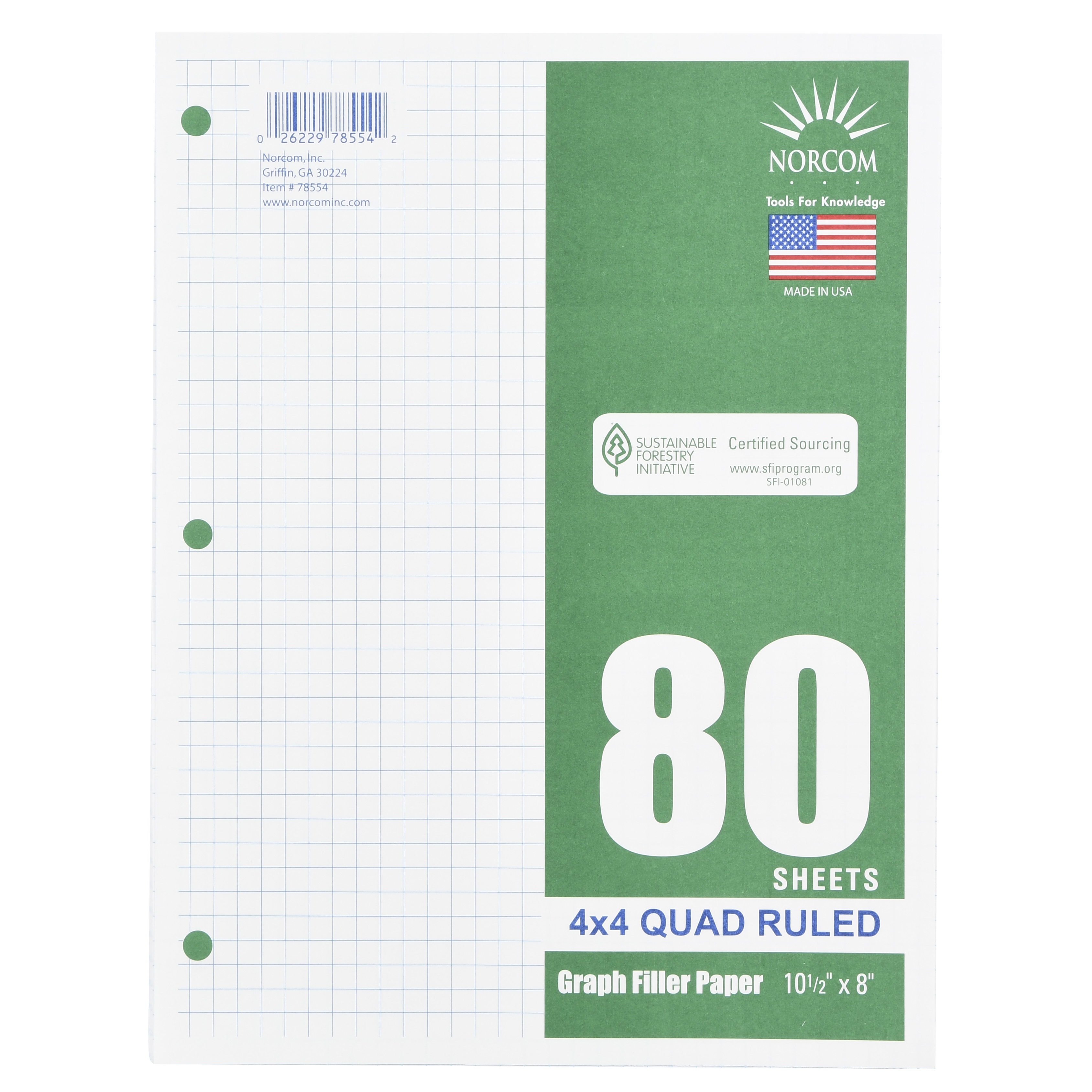 "(4 Pack) Norcom 80 Sheets 4x4 Graph Filler Paper, 10.5"" x 8"""
