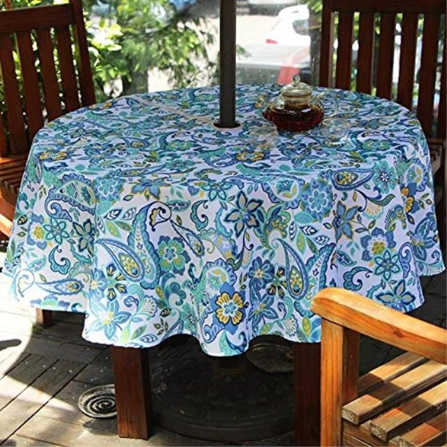 "Do4U 60/"" Round Garden Patio Outdoor Table Cloth With Parasol Hole//Umbrella Hole,"