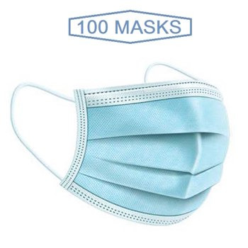 100-Pieces Wecare Disposable 3 Ply Ear Loop Face Masks Breathable