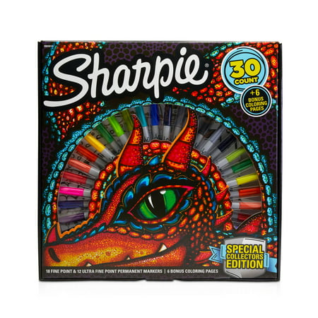 Sharpie Special Collectors Edition Permanent Markers and Dragon Coloring Pages, Fine and Ultra Fine Point, 30 Count - Industrial Permanent Marker