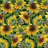 "David Textiles Cotton 36"" x 44"" Sunflowers & Birds Pre-Cut Fabric, 1 Each"