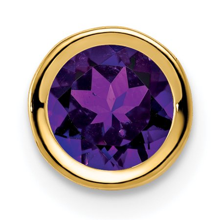 14K Yellow Gold 6mm Amethyst Bezel Pendant