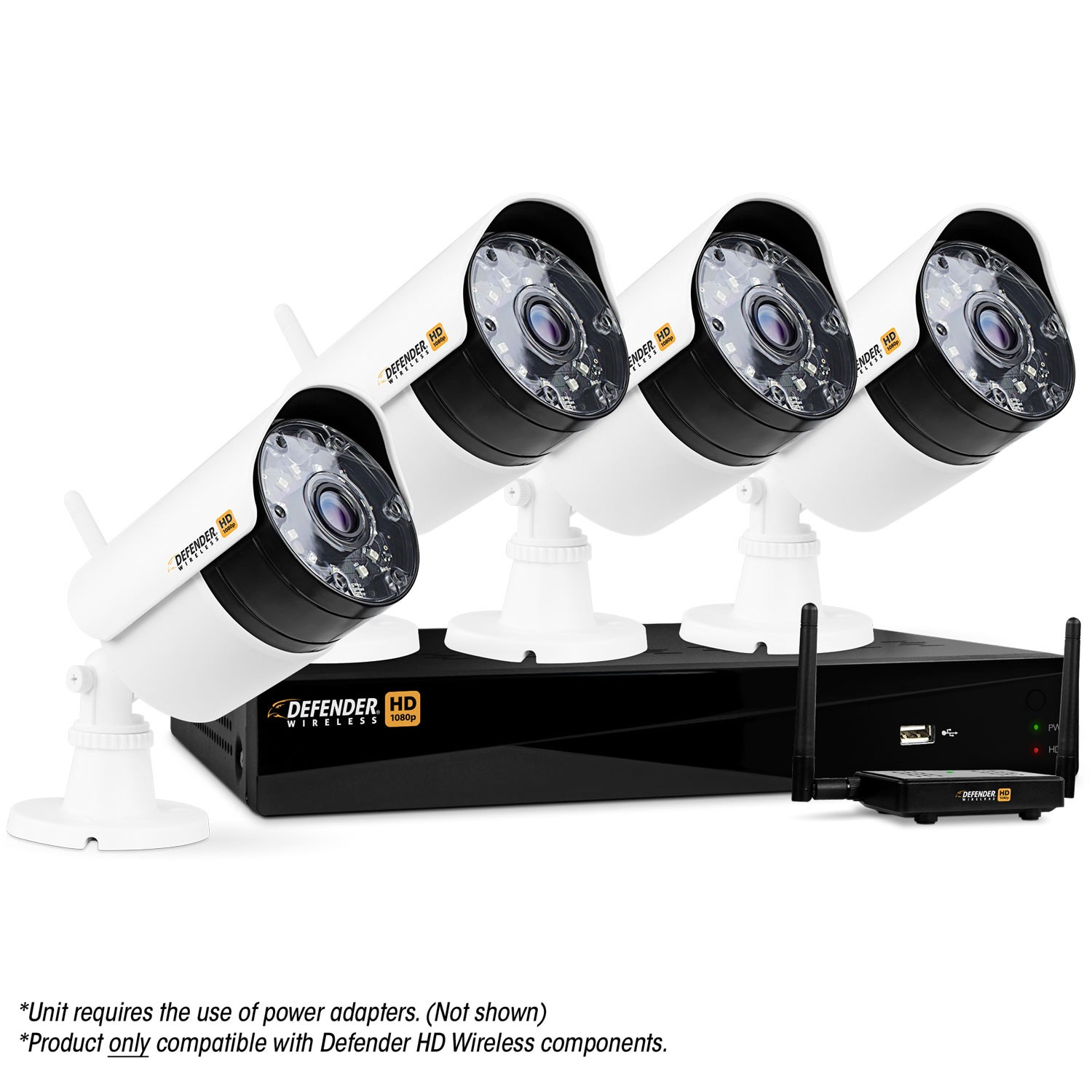 Defender Wireless HD 1080p 4 Channel 1TB DVR Security System with 4 Bullet Cameras