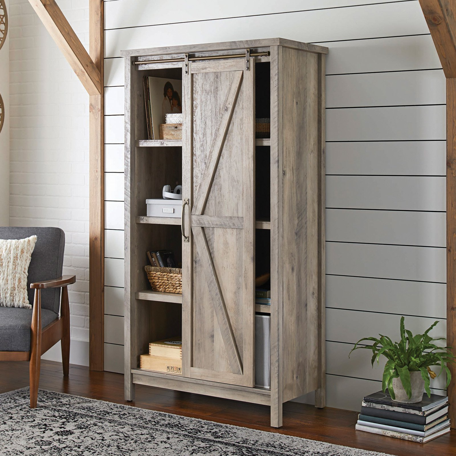 "Better Homes & Gardens 66"" Modern Farmhouse Storage Bookcase Cabinet, Rustic Gray Finish"