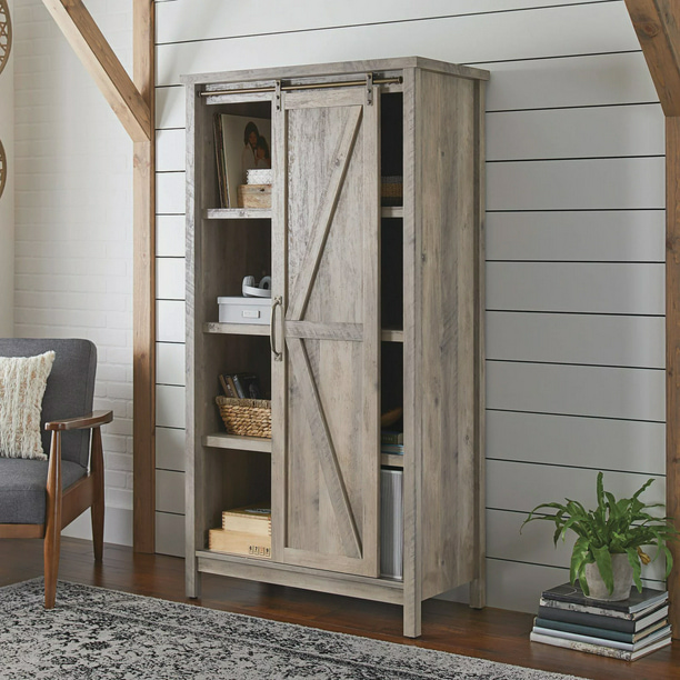 "Better Homes & Gardens 66"" Modern Farmhouse Bookcase Storage Cabinet, Rustic Gray Finish - Walmart.com - Walmart.com"