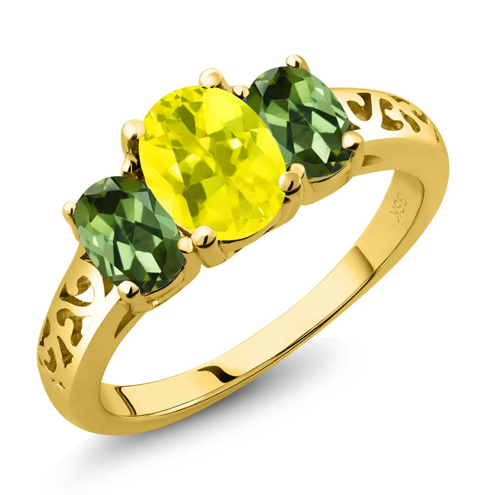 2.30 Ct Oval Canary Mystic Topaz Green Tourmaline 18K Yellow Gold 3-Stone Ring by