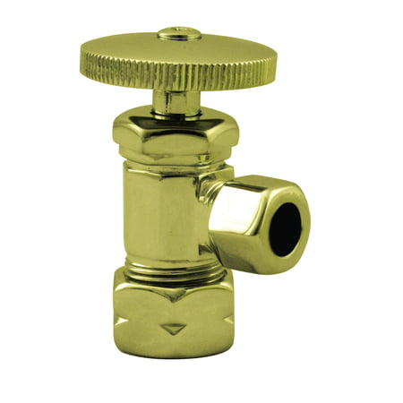 0.5' Shut Off Valve (Westbrass Round Handle Angle Stop Shut Off Valve 1/2-Inch Copper Pipe Inlet with 3/8-Inch Compression Outlet D105 in Polished Brass)
