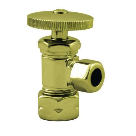 Westbrass Round Handle Angle Stop Shut Off Valve 1/2-Inch Copper Pipe Inlet with 3/8-Inch Compression Outlet D105 in Polished Brass