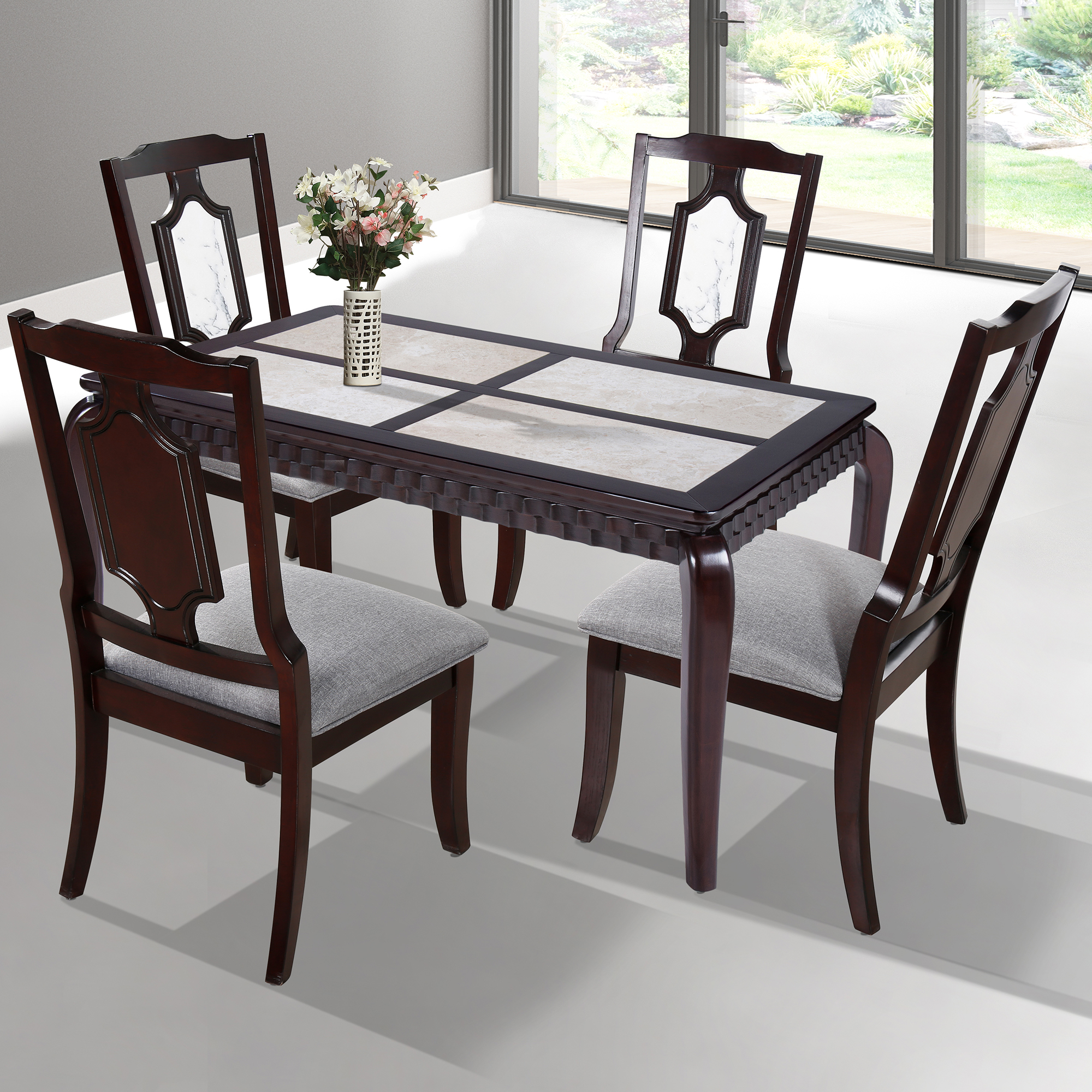GranRest Marble Top Dining table - 52-inch, Wood frame