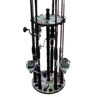 Rush Creek Creations 16 Round Fishing Rod/Pole Storage Floor Rack Camouflage Finish - Features Traditional Wood Center Post - No Tool Assembly