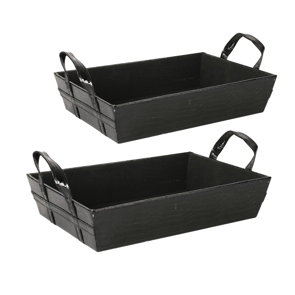 9108-BLK 14. 5 inch Black Faux Leather Tray - Includes 3 pieces