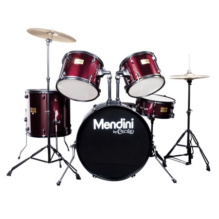 Mendini by Cecilio Complete Full Size 5-Piece Adult Drum Set w/ Cymbals Pedal Throne Sticks ,Metallic Wine Red MDS80-WR (Drum Sets Full)