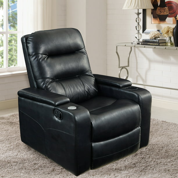 LifeStyle Solutions Theater Recliner with USB in Black Faux Leather