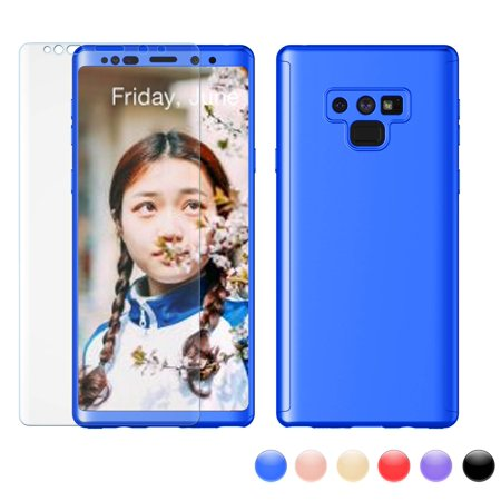 Galaxy Note 9 Case, Samsung Note 9 Sturdy Case, Note 9 Screen Protector, Njjex Hard Plastic Case Full Protective With Tempered Glass Screen Protector Case Cover For Galaxy Note 9 (2018) -Blue