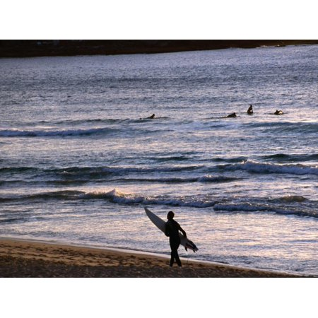 Surfers at Sunrise on Bondi Beach, Sydney, Australia Print Wall Art By Glenn (Bondi Mall)
