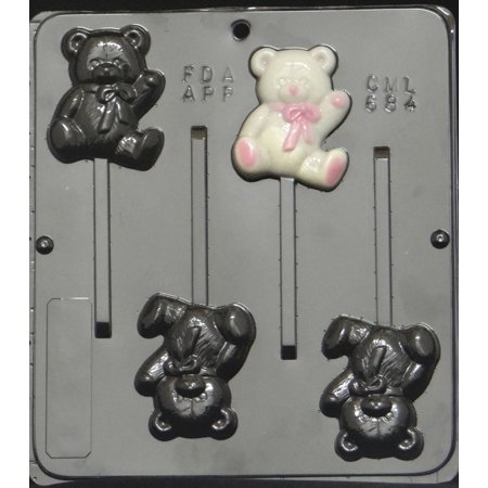 684 Teddy Bear Lollipop Chocolate Candy Mold (Candy Lollipop Molds)