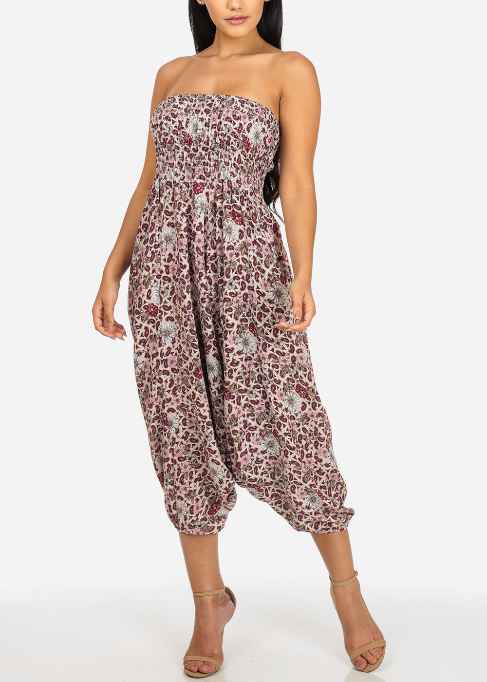 Womens Juniors Multiway Pink and White Strapless Printed Jumpsuit or Pants 40343I