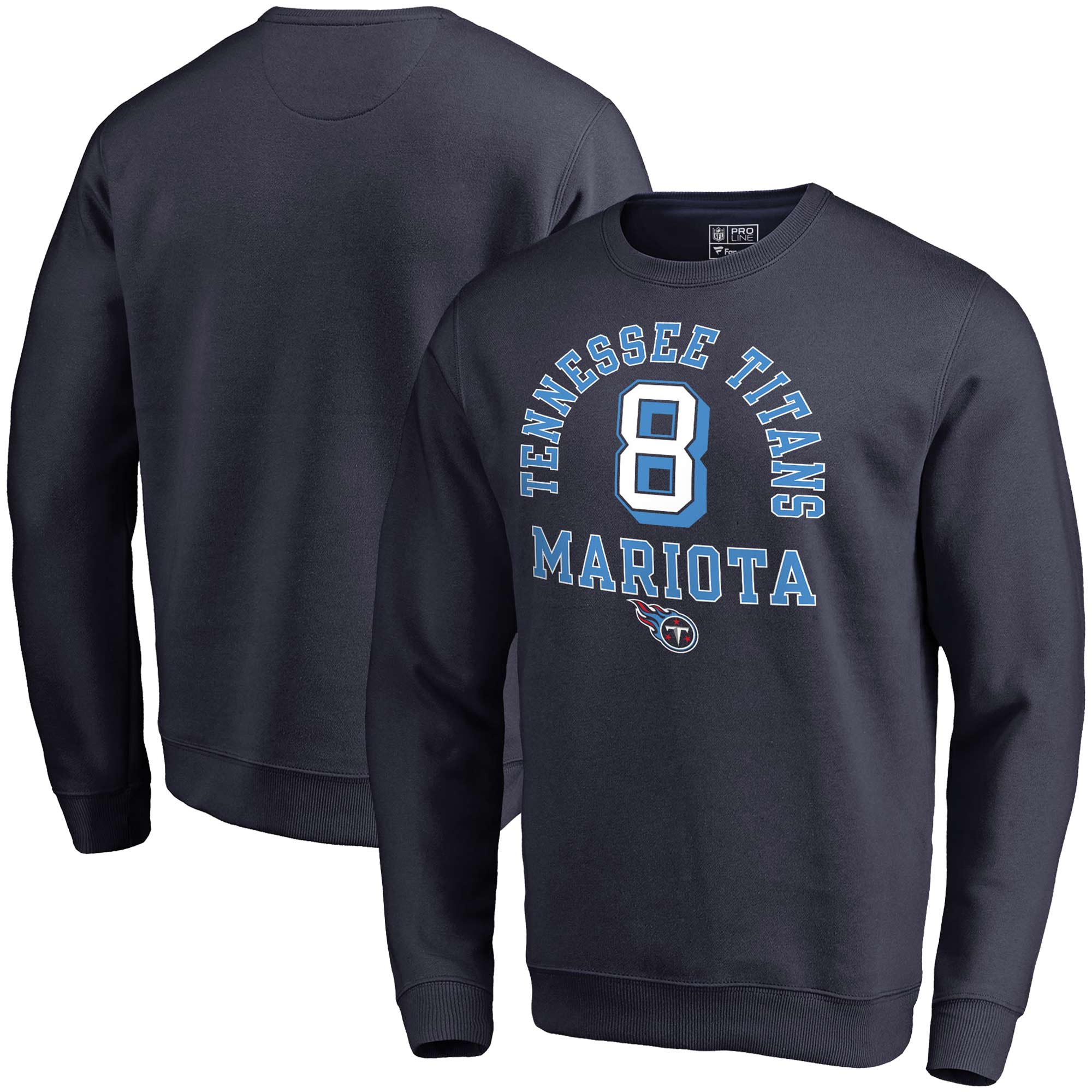 Marcus Mariota Tennessee Titans NFL Pro Line by Fanatics Branded Team Elite Player Name & Number Crew Pullover Sweatshirt - Navy