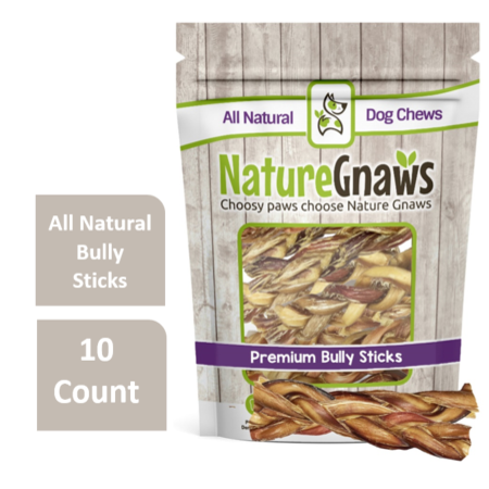 """Nature Gnaws Braided Bully Sticks 5-6"""", 10 Count"""