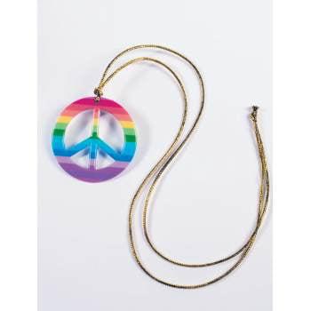 RAINBOW PEACE MEDALLION NECKLACE - Halloween Medallion