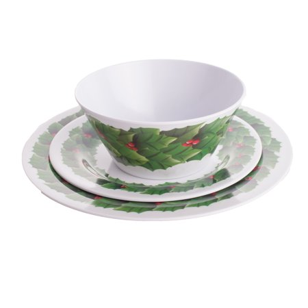 Festive Christmas Wreath Tray, Bowl & Plate 3pc Dinnerware ...