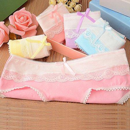 - 3Pcs Lace Edge Cotton Seamless Briefs Women Panties Low Waist Triangular Underwear