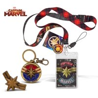 Warp Gadgets Captain Marvel Bundle - Pewter Keychain, Lapel Pin and Lanyard with Soft Dangle (3 Items)