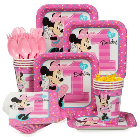 Minnie 1st Birthday Standard Tableware Kit (Serves 8) - Baby Minnie First Birthday