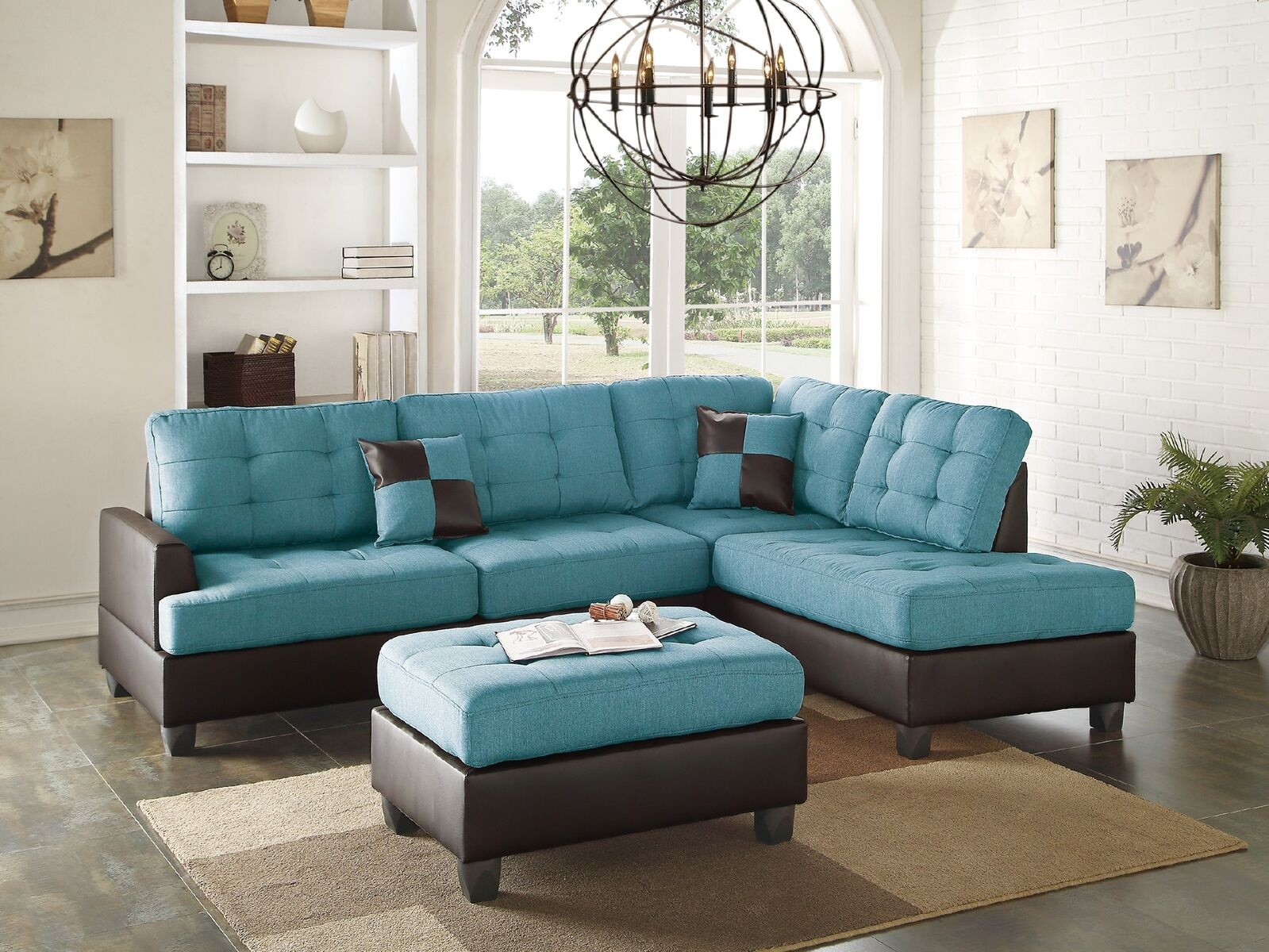 Swell Mathew Sectional Sofa Set Contemporary Teal Linen Like Fabric Sofa Chaise Ottoman Tufted Comfort Couch Living Room Furniture Ibusinesslaw Wood Chair Design Ideas Ibusinesslaworg