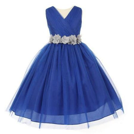 Little Girls Royal Blue Silver Chiffon Floral Sash Tulle Flower Girl Dress 6](Silver Little Girl Dresses)