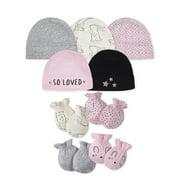 Gerber Baby Girl Assorted Caps & Mittens Accessories Bundle, 9-Piece Set