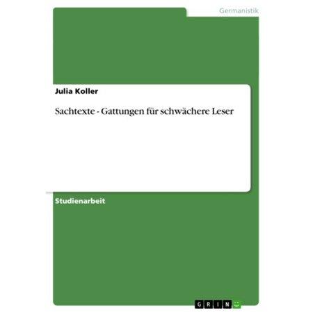 Sachtexte - Gattungen für schwächere Leser - eBook (Leser Großhandel)