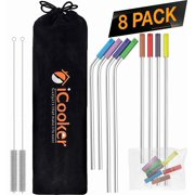8 Pack Reusable Stainless Steel Straws Ultra Long 10.5 Inch Small 8.5 inch Drinking Metal Straw For Tumblers Rumblers Cold Beverage - (4 Straight - 4 Bent - 2 Cleaning Brushes)