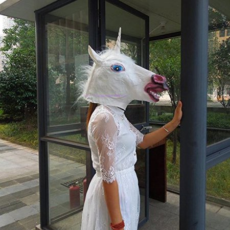 Horse Head Unicorn Zebra Mask Halloween'S Day Costume Dress Up Cosplay Headwear - Zebra Mask