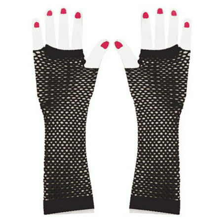Adults Black Glam Rock Fishnet Fingerless Costume Long Gloves