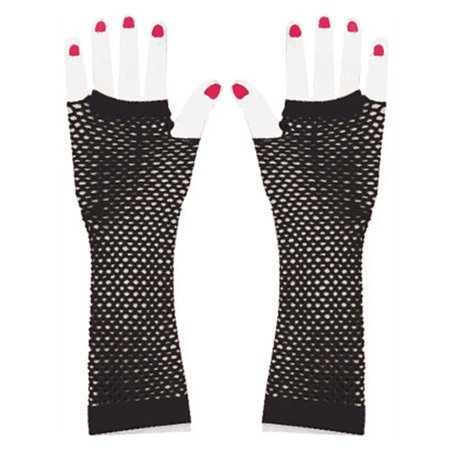 Black Fishnet Glove - Adults Black Glam Rock Fishnet Fingerless Costume Long Gloves